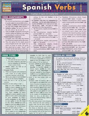 Spanish Verbs Laminated Reference Chart