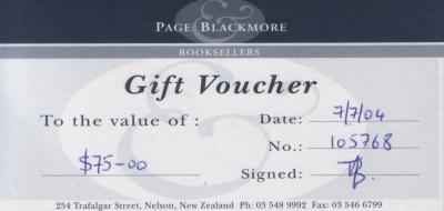 Page & Blackmore Book Voucher