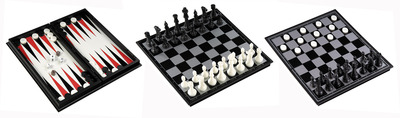 Magnetic 3 in 1 (Chess/Checkers/Backgammon) 12.5""