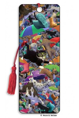 Raining Cats and Dogs 3D Bookmark