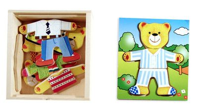 Boy Dress- Up Bear Wooden Puzzle 19 Pieces Ages 3+ - Melissa and Doug - Modern