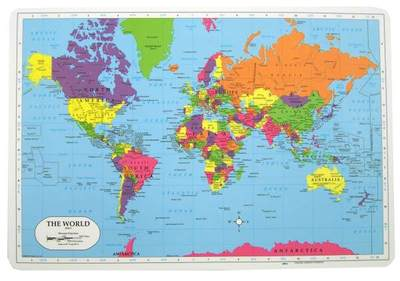 World Map Coloured Learning Laminated Placemat Double Sided - BT
