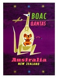 BOAC to Australia and New Zealand, Air Travel Poster