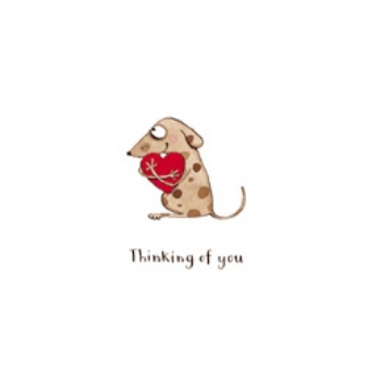 Thinking of you (dog with heart) - card