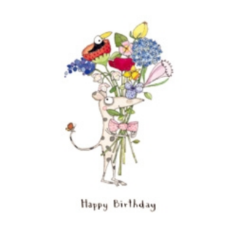 K47 Mouse with Flowers - birthday card