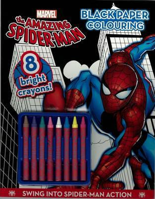 Spider-Man Black Paper Colouring Book (with Crayons)