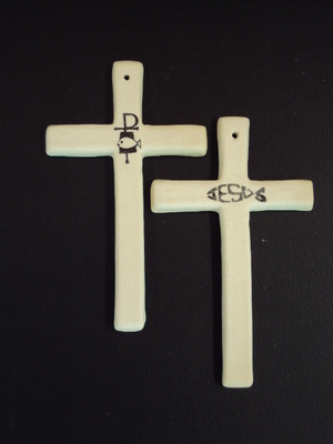 Ceramic White Cross-  loaves & fishes