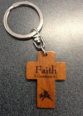Wooden Cross Keyring: Faith