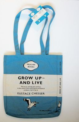 Penguin Tote Bag: Grow Up and Live (Blue)