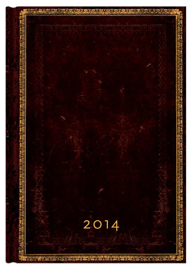 2014 Diary Black Moroccan (Day-at-a-TIme Midi Format)
