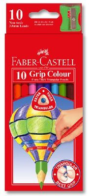 Colour Pencils Junior Grip Triangular bx10 w/sharpener (16-116538-10)