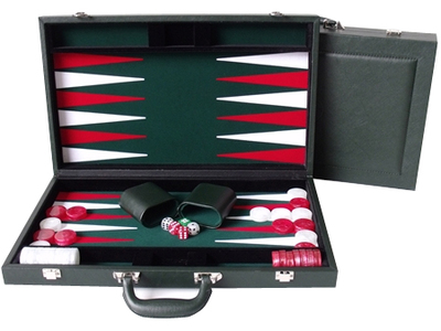 "Dal Rossi Backgammon 15"" PU Leather Green"