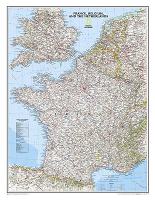 Map of France, Belgium and the Netherlands (laminated 600 mm x 770 mm)