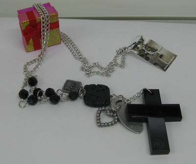 Necklace Black cross With Lava Rock on Chain
