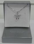 Jewellery Sterling Silver Zirconia Pendant Loop Cross
