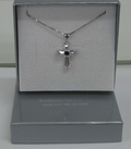 Jewellery Sterling Silver Zirconia Pendant Cross Small