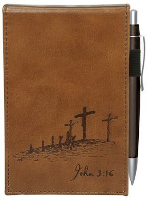 Notepad Pocket With Pen John 3:16 Brown