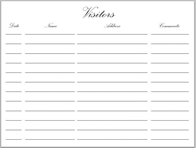 Visitors Book Black/Blue w/Gold Corners (72)