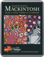 Puzzle Blue and Pink Tobacco Flowers - Mackintosh 100 Piece Puzzles in a Tin