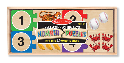 Numbers Wooden Puzzle Cards 1-20 Self Correcting Ages 4+ - Melissa and Doug - Modern