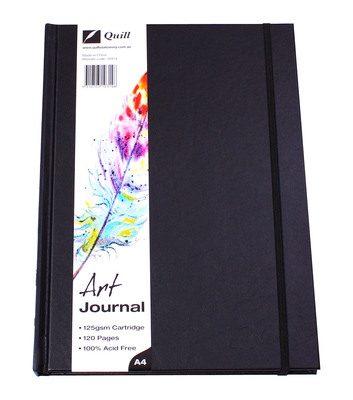 Art Journal A4 60lf Black Casebound Premium Visual Diary 125gsm (10314)