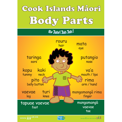 Cook Islands Maori Body Parts A3 Poster