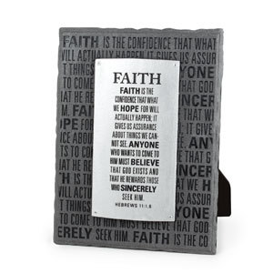 Faith plaque gray & silver layered