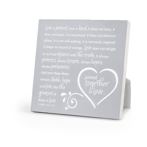 Plaque Joined Together In Love Silver Metal