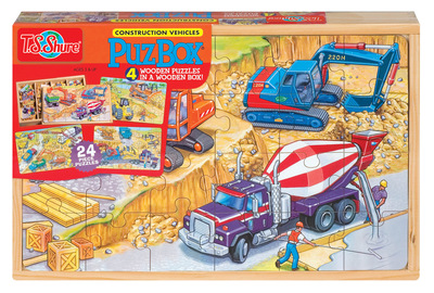 Construction Vehicles - 4 Wooden Puzzle Box