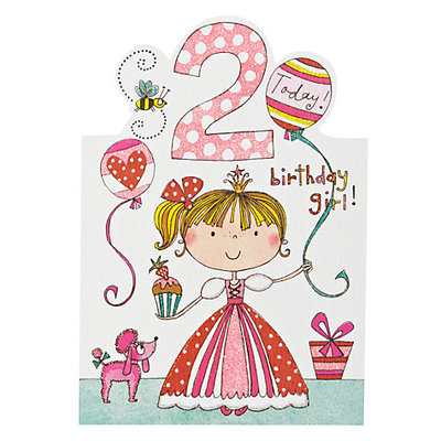 2 Today! Birthday Girl! Princess, Poodle Card
