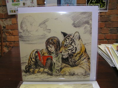 Card - Girl and Tiger Reading