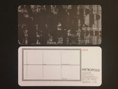 $250 Metropolis Book Voucher (please select $5 voucher registered post)