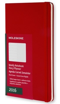 2016 Diary Red Weekly Notebook Large Hardcover