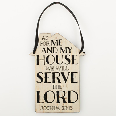 Door Hanger: as for me and my house Wood
