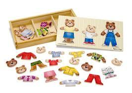 Wooden Bear Family Dress-Up Puzzle 45 Pieces Ages 3+ - Melissa and Doug - Modern