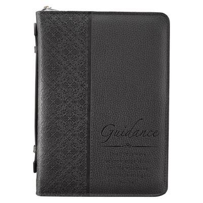 Bible Cover Black Classic: Medium (Guidance Prov 3:6)