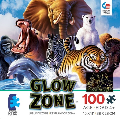 Glow Zone Puzzles Assorted Animals CEA1636