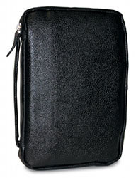 Midnight Black Leather Bible Cover - Compact