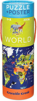 World Puzzle and Poster 200pc Tube