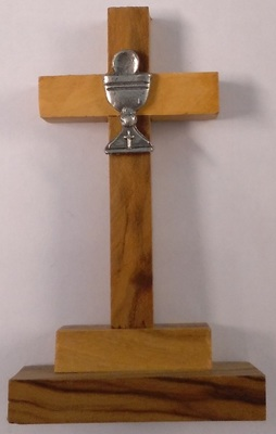 Cross: Olive wood w chalice
