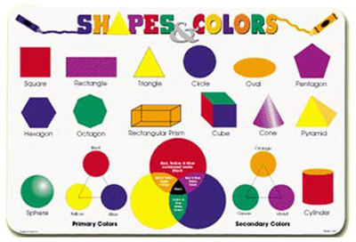 Shapes & Colours Placemat Chart Double Sided Laminated - Bright