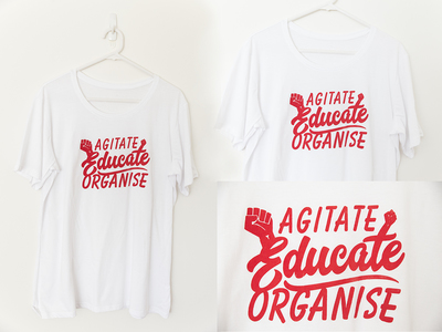 Tshirt - Beyond The Two - Agitate - White with Red - Size M/14