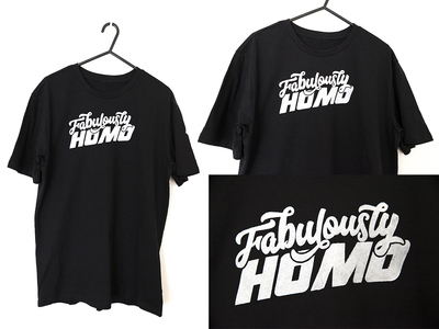 Tshirt - Beyond The Two - Fab Homo - White with Glow Pink - XL/18