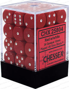 Red White Frosted Dice 36 pack
