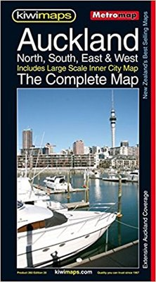 Kiwi Maps Auckland North, South, East & West - The Complete Map