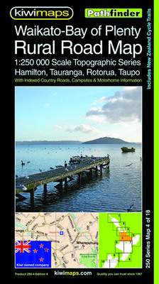 Kiwi Maps Waikato BOP Rural Road Map