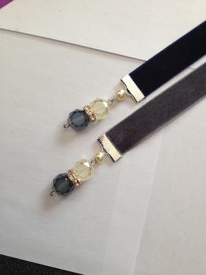 RE Bookmark - Dk Blue Velvet Ribbon