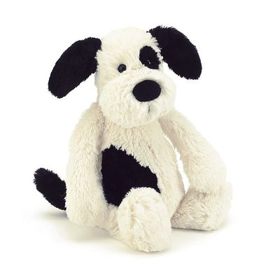 Jellycat Bashful Black & Cream Puppy Medium BAS3BCP