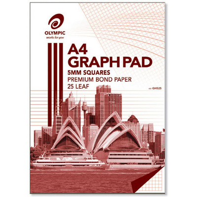 Large graph pad olympic 5mm 25 page premium bond paper