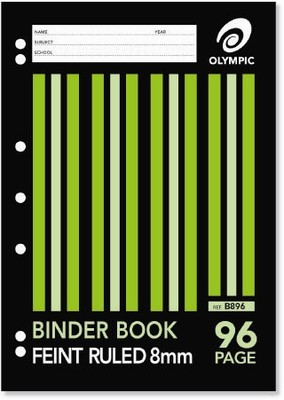BINDER BOOK OLYMPIC A4 8MM RULED 96PG